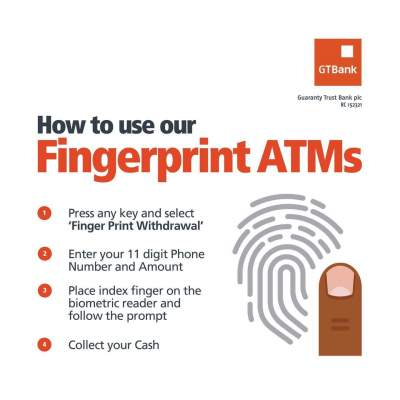 GTBANK FINGERPRINT WITHDRAWAL ATMs STEP BY STEP GUIDE